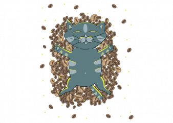 Kitten and coffee beans cute child vector t shirt printing design