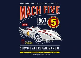 Mach Five t shirt designs for sale