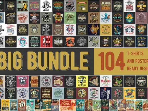 T-shirt Bundle 2. Vector T-Shirt and Posters Designs