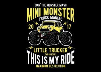 Mini Monster vector t-shirt design template