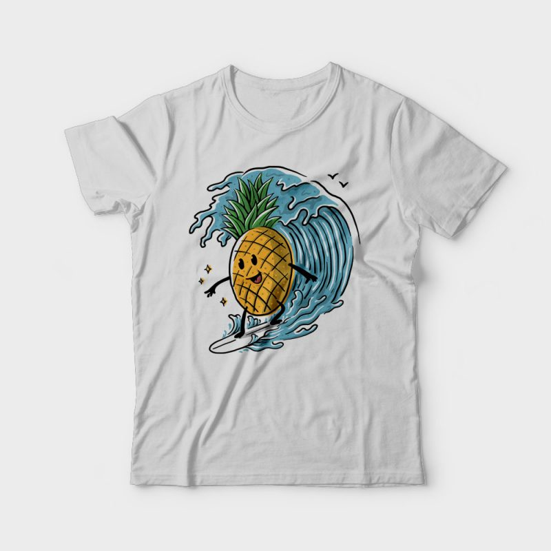 Pineapple Surfing vector shirt designs