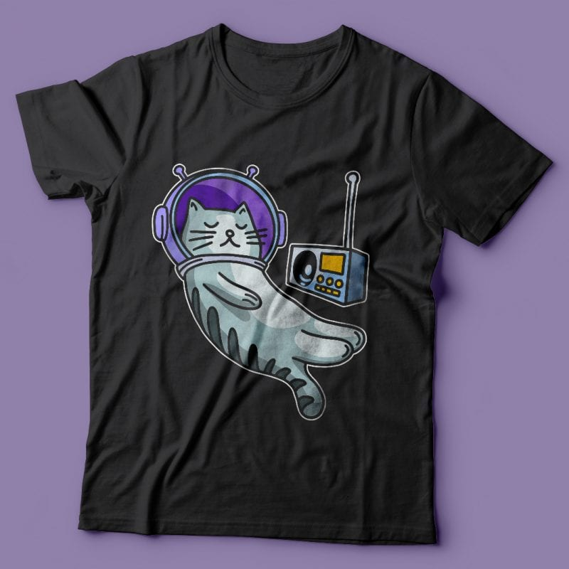 Sleeping cat in space with music. Vector t-shirt design t shirt designs for merch teespring and printful