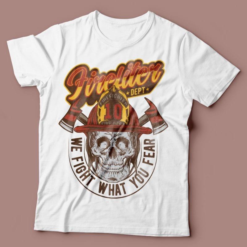 Firefighter dept. Vector T-Shirt Design tshirt design for merch by amazon