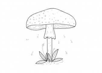 Mushroom plant botany children minimal vector graphic t shirt design