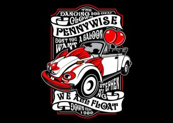 Pennywise print ready vector t shirt design