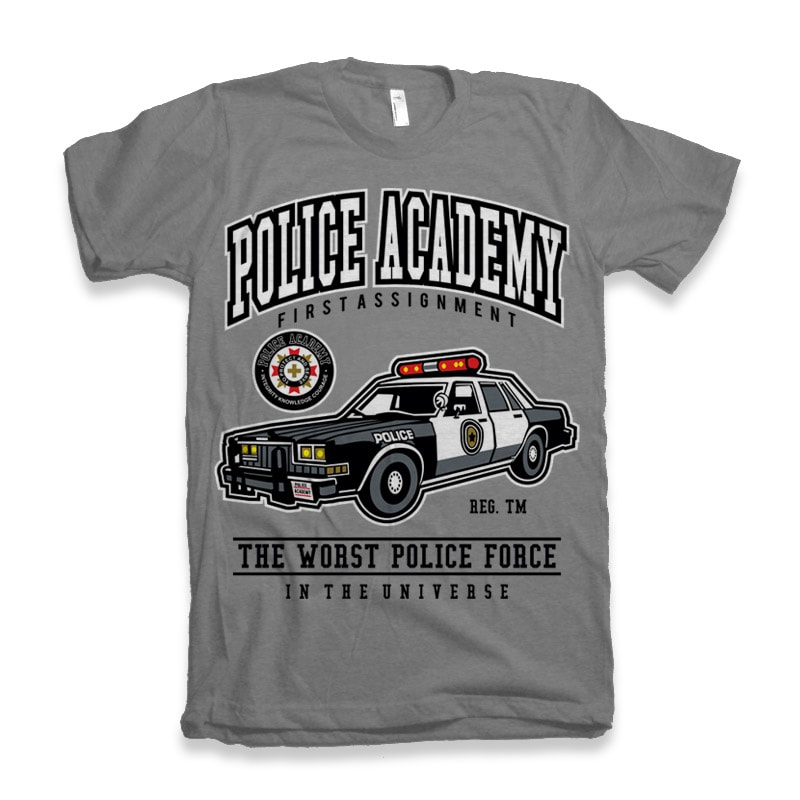 Police Academy t shirt designs for printify