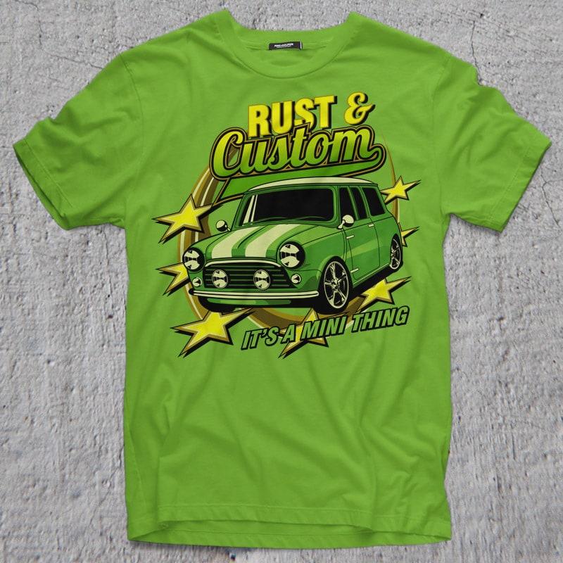 RUST AND CUSTOM vector t shirt design
