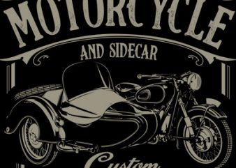 MOTORCYCLE AND SIDECAR vector t-shirt design for commercial use