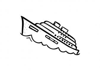 Sinking ship t shirt template vector