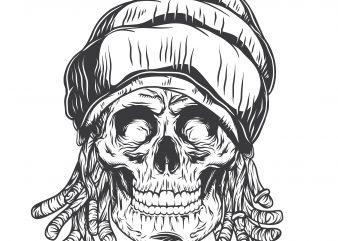 Rasta skull. Vector T-Shirt Design