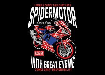 Spider Motor t shirt template vector