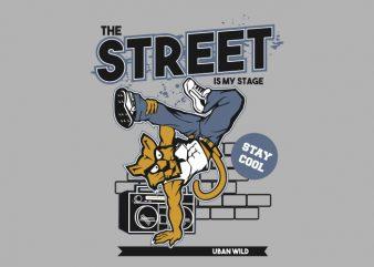 Street Dance Cat t shirt template vector