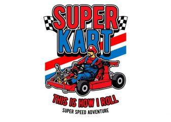 Super Kart vector shirt design