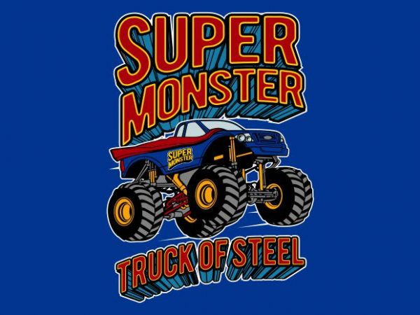 Super Monster t shirt template vector