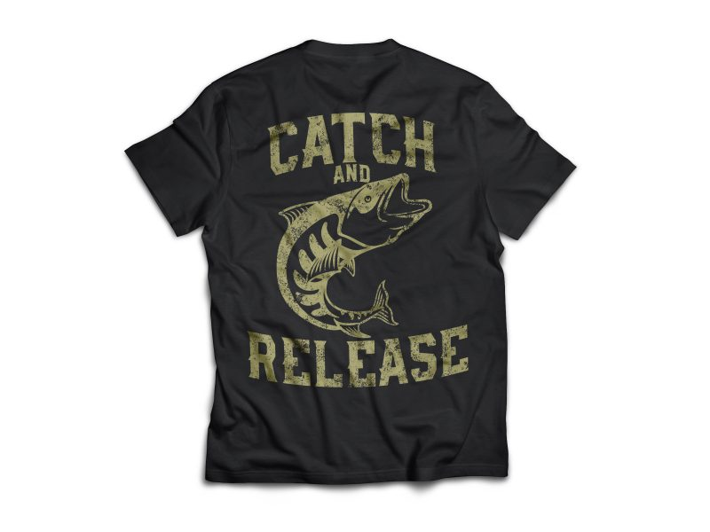 fish release Vector t-shirt design commercial use t shirt designs