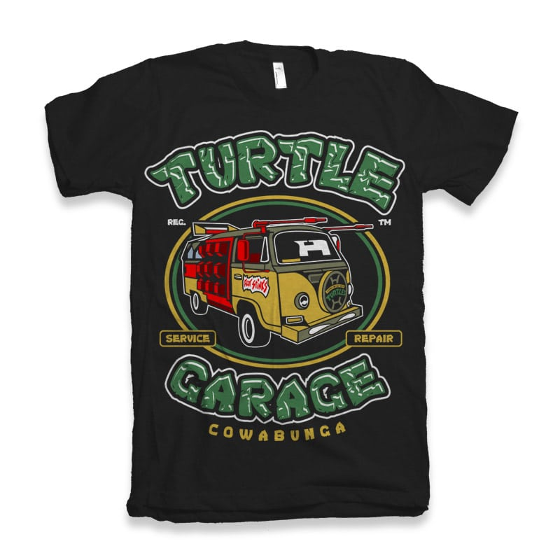 Turtle Garage t shirt designs for printful
