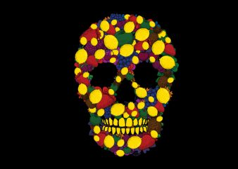 Fruit skull vector t shirt design for download