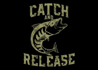 fish release Vector t-shirt design
