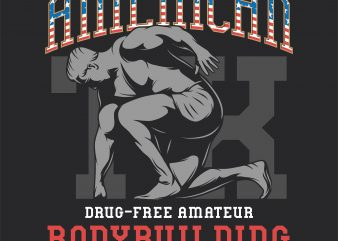 American bodybuilding championship. Vector T-Shirt Design
