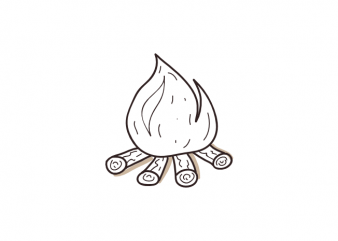 campfire bonfire fire minimal camping tattoo vector t shirt printing design