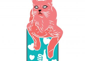 Cat with like and love. Vector T-Shirt Design