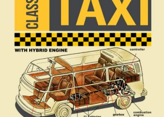 CLASSIC TAXI t shirt vector file