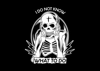 Confused skull Vector t-shirt design