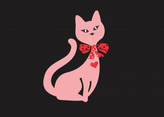 Cat Pink Kitty t shirt design for sale