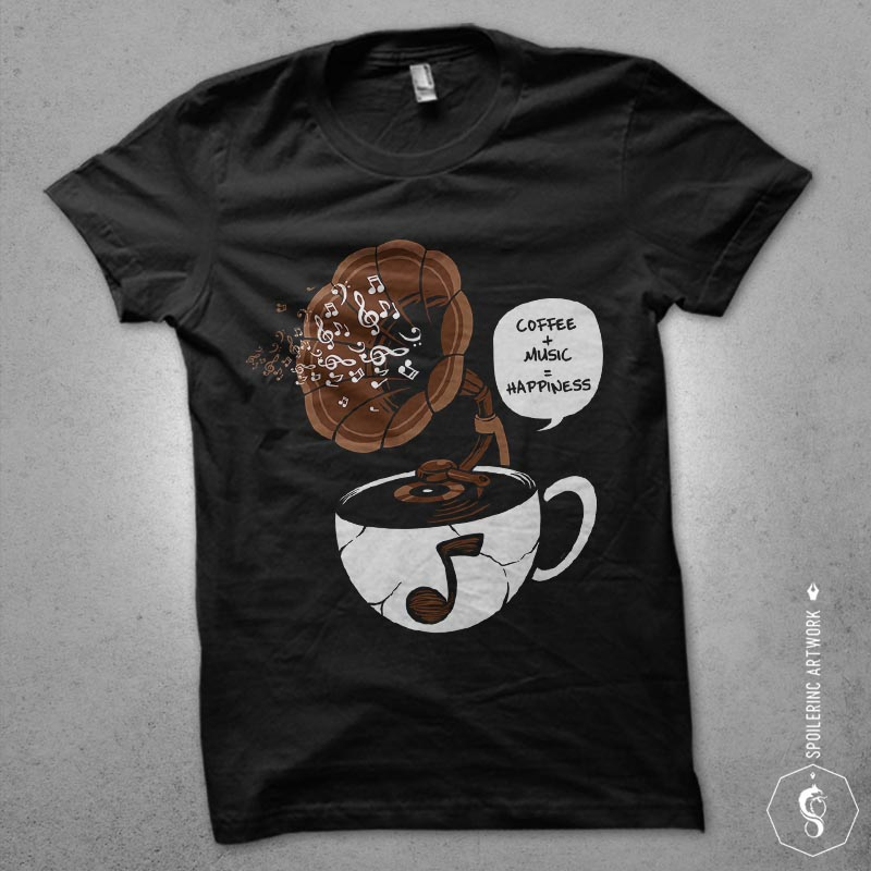 coffee and music Graphic t-shirt design t shirt designs for teespring
