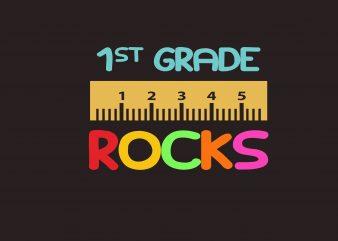 First Grade Rock t shirt graphic design
