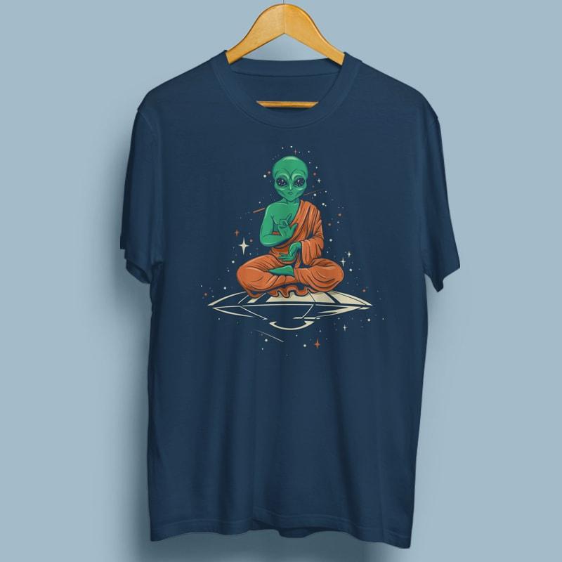 Alien Buddha vector t shirt design