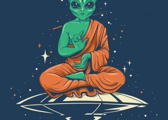 Alien Buddha t shirt vector