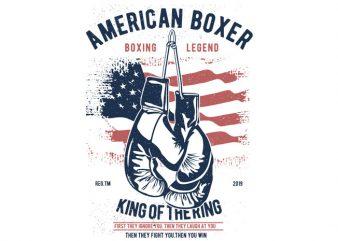American Boxer vector t-shirt design template