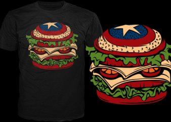 American sandwich vector shirt design