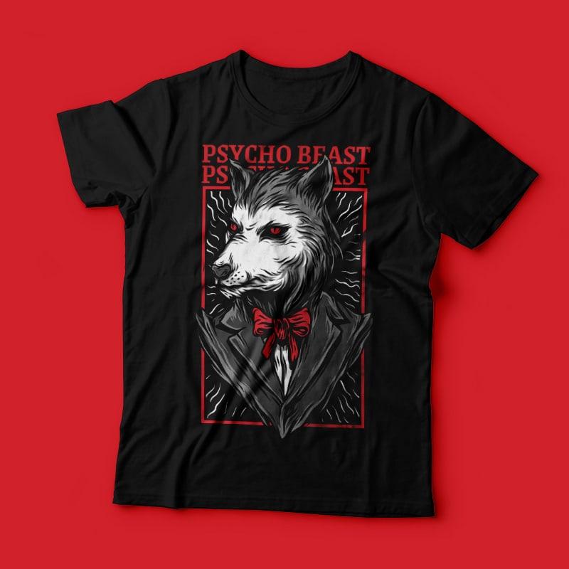 Psycho Beast T-Shirt Design buy tshirt design