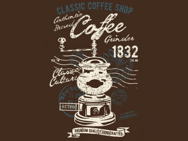 Classic Coffee Grinder t shirt vector file