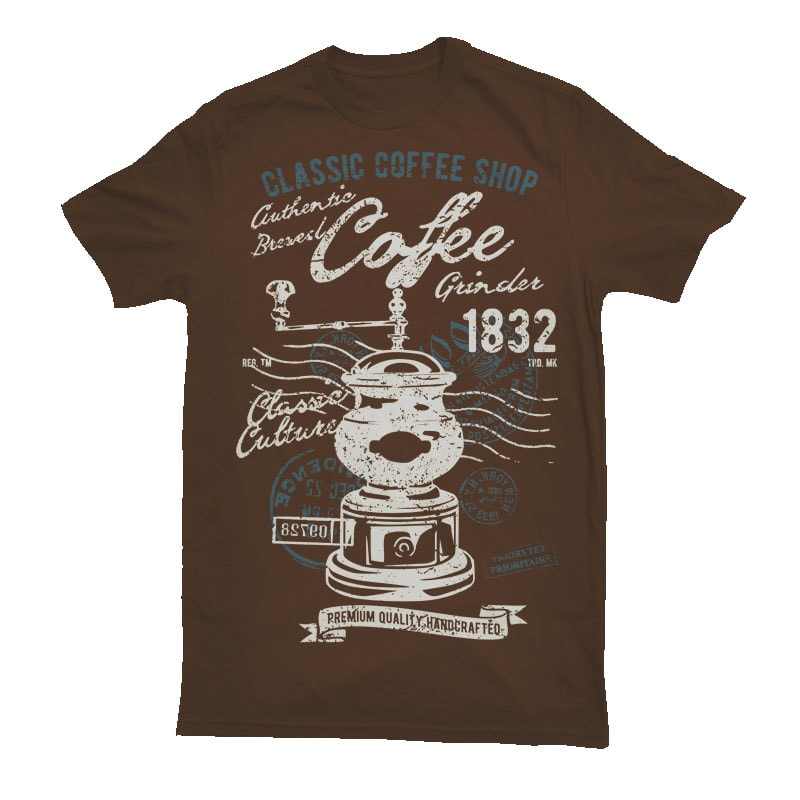 Classic Coffee Grinder tshirt design for merch by amazon