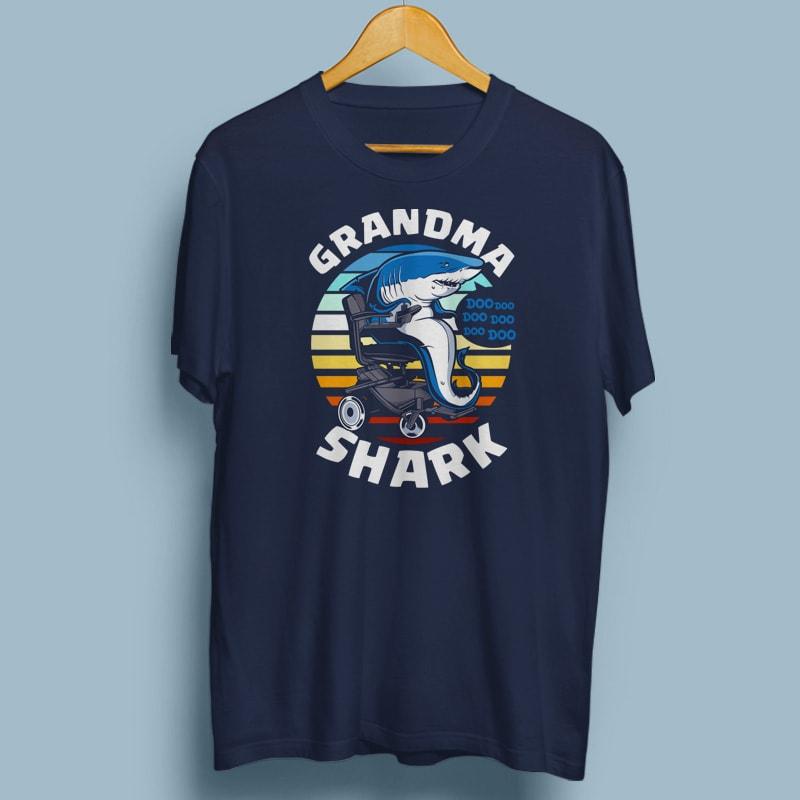 GRANDMA SHARK vector t shirt design