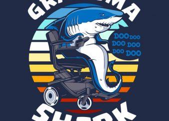 GRANDMA SHARK t shirt design template