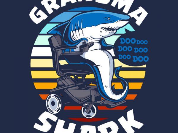 GRANDMA SHARK buy t shirt design for commercial use