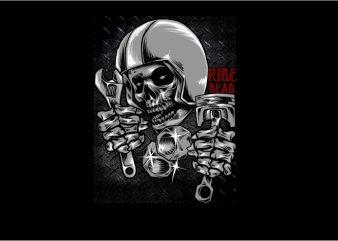 Helmet Skull Racer print ready t shirt design