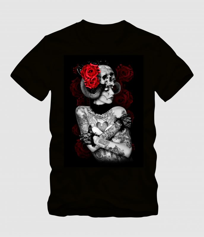Ladies Evil with Rose buy t shirt designs artwork