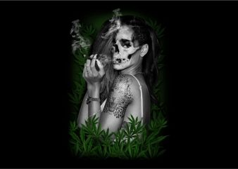 Ladies Skull with Marijuana t shirt vector graphic