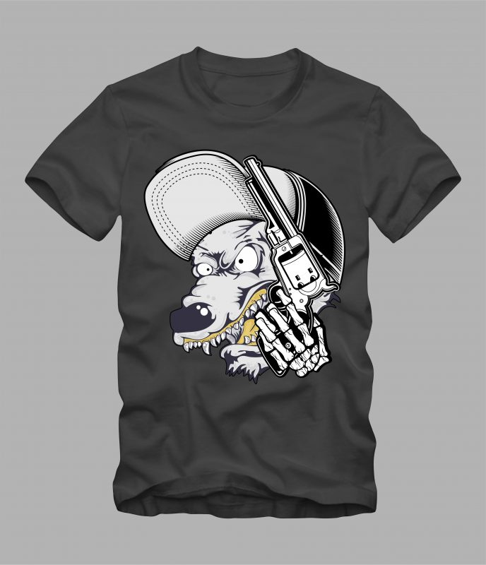 wolf wearing cap and holding gun commercial use t shirt designs