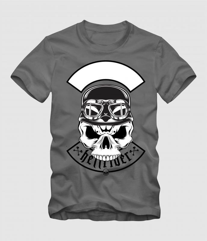 skull wearing retro helme t-shirt designs for merch by amazon