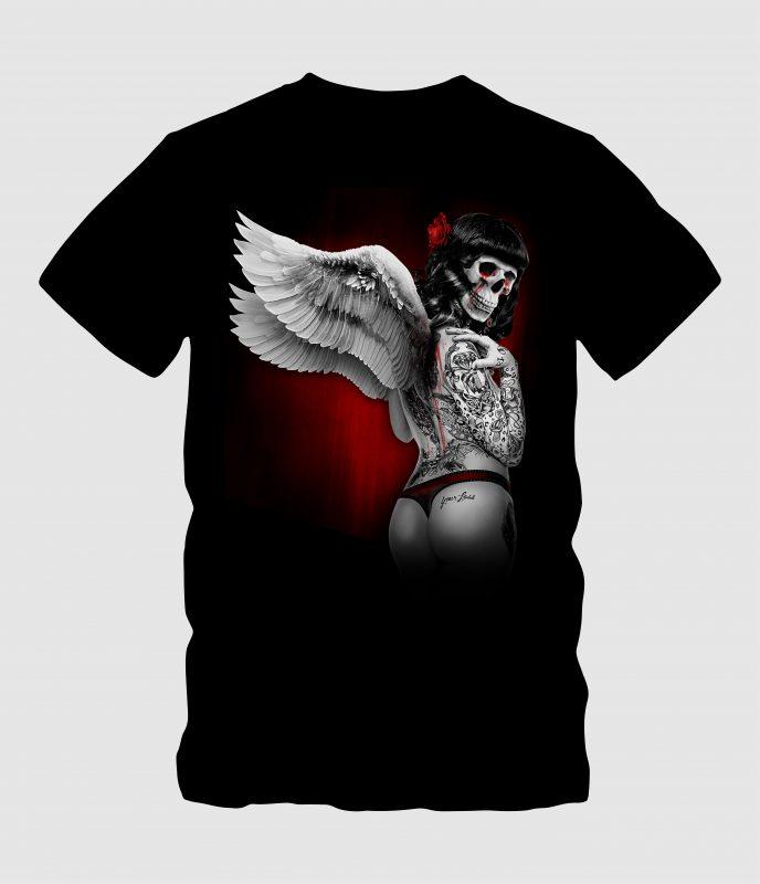 skull angel with wings buy tshirt design