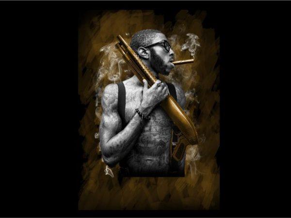 Man with Tatoo Handling Shotgun buy t shirt design for commercial use