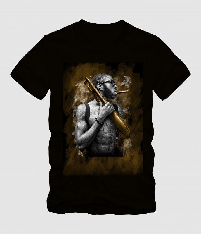 Man with Tatoo Handling Shotgun buy tshirt design