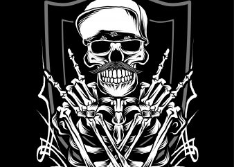 Metal Skull with Hat t shirt designs for sale