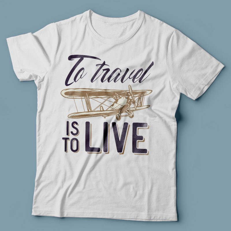 To travel is to live. Vector T-Shirt Design tshirt designs for merch by amazon